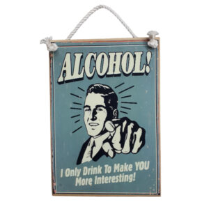 Country Quality Printed Wooden Bar Sign With Rope Hanger Alcohol New