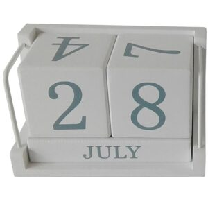 French Country Vintage Inspired White Perpetual Calendar Wooden New