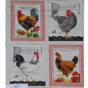 Patchwork Quilting Sewing Fabric DOWN ON THE FARM ROOSTERS Panel 60x55cm New