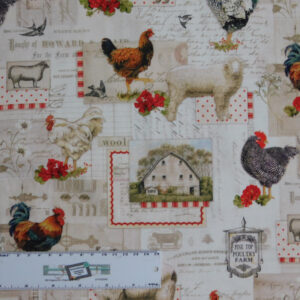 Quilting Patchwork Sewing Fabric DOWN ON THE FARM ROOSTER 50x55cm FQ New
