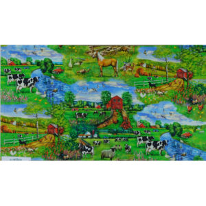 Patchwork Quilting Sewing Fabric DOWN ON THE FARM Panel 63x110cm New