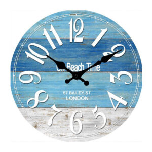 French Country Chic Retro Inspired Wall Clock 30cm ON BEACH TIME New