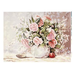 Grafitec Printed Tapestry Needlepoint Soft Pink Floral with DMC Numbers New