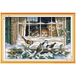 Cross Stitch Kit CATS IN THE WINDOW X Stitch Joy Sunday Designs Incl Threads New