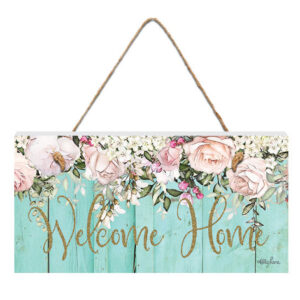 French Country Wall Art ENGLISH ROSE WELCOME HOME 15x30cm Sign New