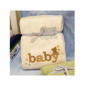 Embroidered Baby Blanket Throw CREAM Soft and Fluffy for the Cot New