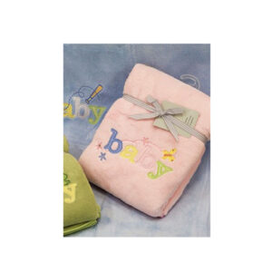 Embroidered Baby Blanket Throw PINK Soft and Fluffy for the Cot New