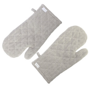 Kitchen Cooking Oven Gloves Set of 2 Herringbone TAUPE/CHARCOAL Pot Mitts New
