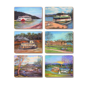 Country Kitchen PADDLE STEAMER Cinnamon Cork Back Placemats Set 6 New