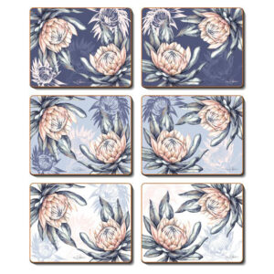 Country Inspired Kitchen PROTEA Cinnamon Cork Back Placemats Set 6 New