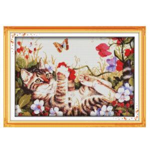 Cross Stitch Kit LEISURE CAT X Stitch Joy Sunday Designs Incl Threads New