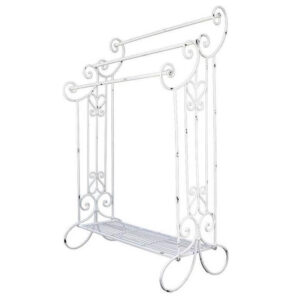 French Country Inspired Industrial White Towel Rack Free Standing Wrought Iron New