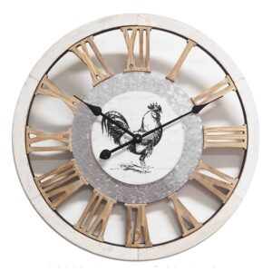 Clock French Country Vintage Inspired Wall Clock 60cm RUSTIC ROOSTER CUTOUT New