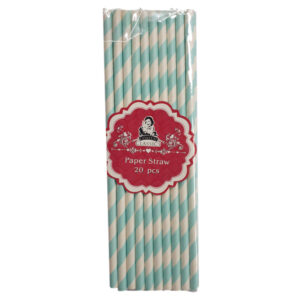 Environmentally Friendly Blue and White Paper Straws Pack of 20 New