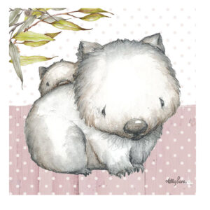 French Country Stretched Canvas Print Small BABY JOEY Wombat 20x20cm New