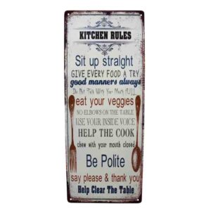Country Tin Sign Vintage Look Wall Art KITCHEN RULES Plaque 20x50cm New