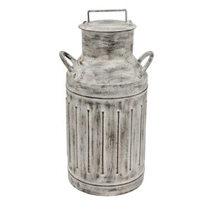 Country Metal Tin Vintage Look Rustic CREAM CAN CHURN Whitewash 40x18cm New
