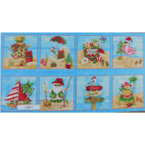 Patchwork Quilting Sewing Fabric CHRISTMAS BEACH SANTA SQUARES Panel 60x110cm New