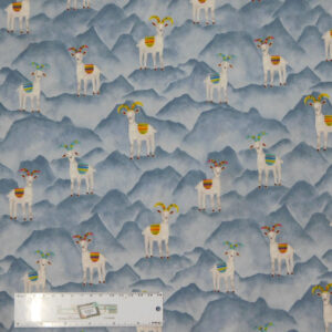 Quilting Patchwork Sewing Fabric BLUE GOATS 50x55cm FQ New Material