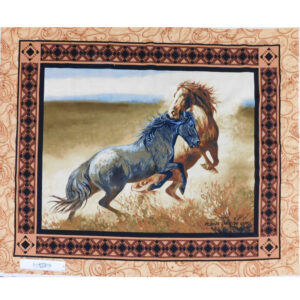 Patchwork Quilting Sewing Fabric RUNNING WILD HORSES Panel 90x110cm New