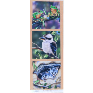 Patchwork Quilting Sewing Fabric AUSSIE FROGS KOOKABURRA POSSUM Panel 41x110cm New