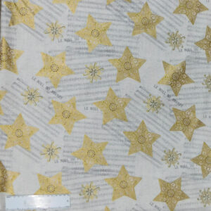 Quilting Patchwork Sewing Fabric METALLIC CHRISTMAS STAR 50x55cm FQ New