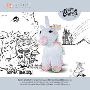 The Knitty Critters Crochet SOPHIA UNICORN Kit New Incl Hook and Wool