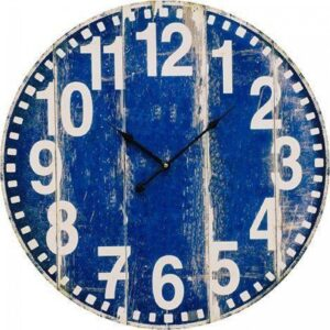 Clock French Country Vintage Wall Hanging 60cm RUSTIC BLUE New
