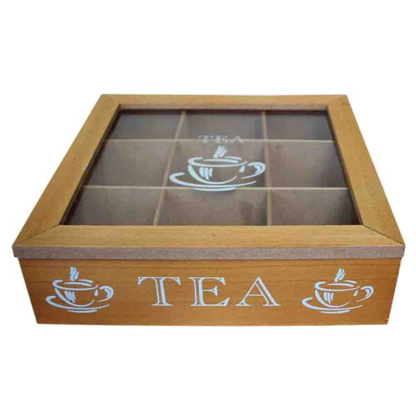 French Country Tea Bag Box Wooden 9 Sections Teabag Holder New