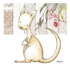 French Country Stretched Canvas Print Small BABY JOEY Kangaroo 20x20cm New