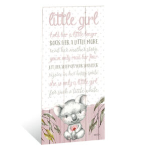 French Country Inspired Wall Art BABY JOEY Koala Little Girl Large Wooden Sign New