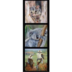 Patchwork Quilting Sewing Fabric Possum Koala Kookaburra Panel 40x110cm