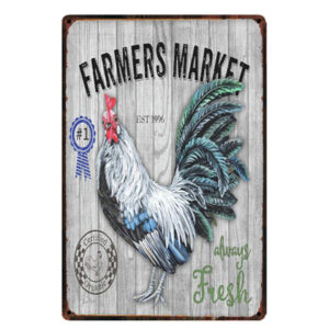 Country Tin Sign Vintage Look Wall Art FARMERS MARKET ROOSTER Plaque New