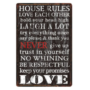 Country Tin Sign Vintage Look Wall Art HOUSE RULES LOVE Plaque New