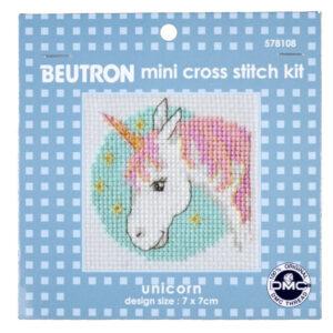 BEUTRON Cross Stitch Kit For Beginner UNICORN 7x7cm 578108 New