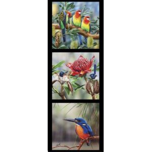 Patchwork Quilting Sewing Fabric Rosella Kingfisher Wrens Panel 40x110cm