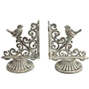 French Country Wrought Iron Art Birds Book Ends Whitewash