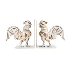 French Country Wrought Iron Art ROOSTER BOOK ENDS Whitewash
