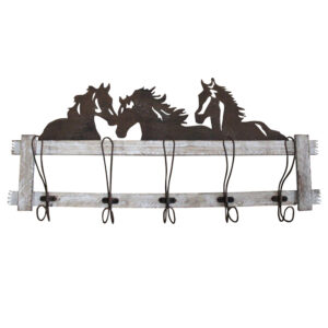Country Wall Art Farmhouse Metal HORSES with Hat Hooks New