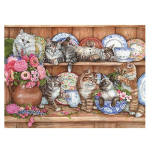 5D Diamond Painting Full Image Square Drills CROCKERY CATS 50x40cm