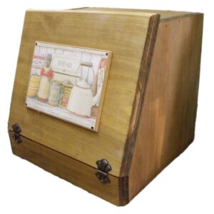 French Country Inspired Handmade Wooden Bread Box with Shelf New
