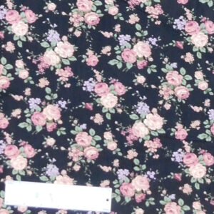 Quilting Patchwork Sewing Fabric FLORAL PROMISE BLACK SMALL ROSES 50x55cm FQ New