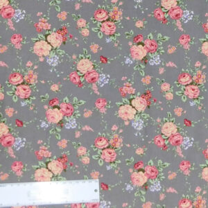 Quilting Patchwork Sewing Fabric FLORAL PROMISE GREY SMALL ROSES 50x55cm FQ New