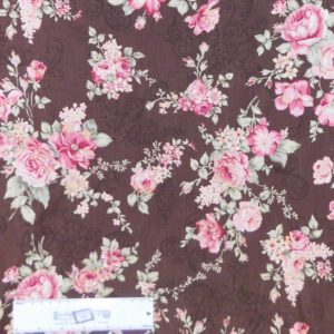 Quilting Patchwork Sewing Fabric FLORAL PROMISE CHOCOLATE LARGE ROSES 50x55cm FQ New