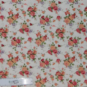 Quilting Patchwork Sewing Fabric FLORAL PROMISE CREAM SMALL ROSES 50x55cm FQ New