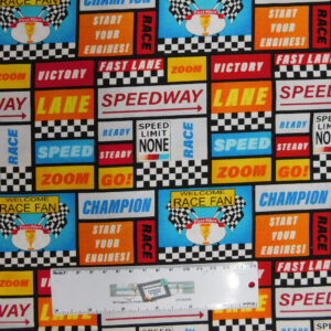 Quilting Patchwork Sewing Fabric START YOUR ENGINES SPEEDWAY 50x55cm FQ New