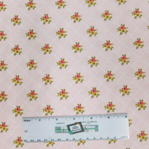 Quilting Patchwork Sewing Fabric GINGHAM FARMHOUSE PINK ROSES 50x55cm FQ New