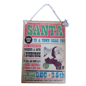Country Printed Quality Wooden Sign VINTAGE SANTA New Plaque