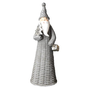 Christmas Santa Ornament Xmas TALL GREY SANTA with PRESENT New