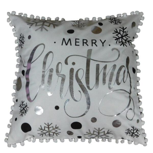 Christmas Cushion SILVER MERRY CHRISTMAS Filled 45x45cm inc Insert New